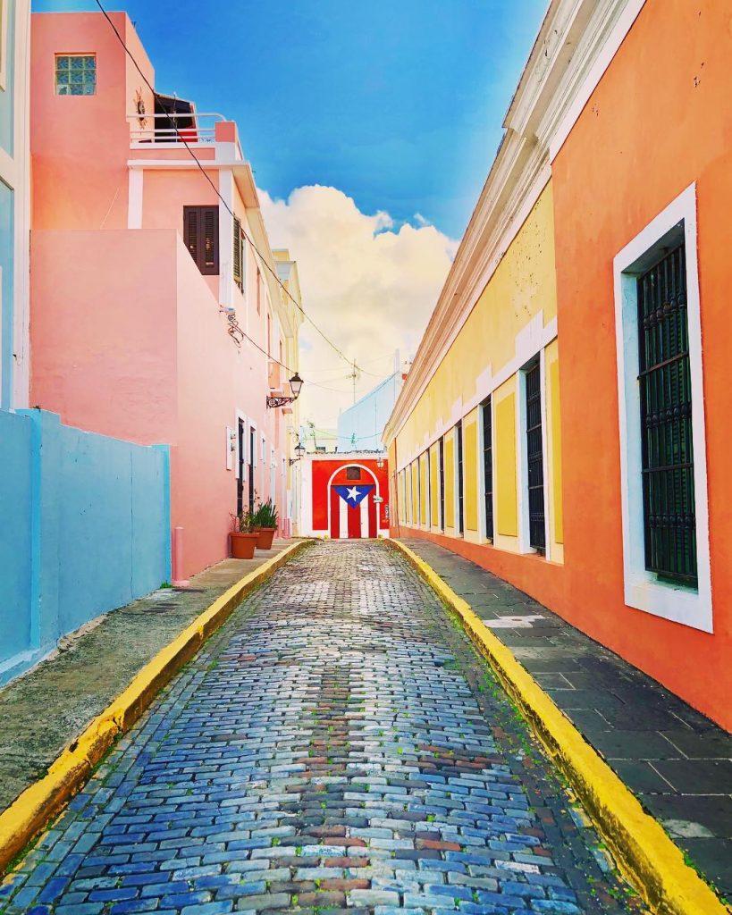 Cobble stone street in old san juan puerto rico